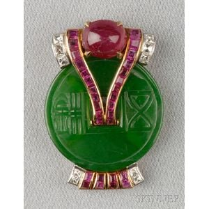 18kt Gold, Jade, and Ruby Dress Clip