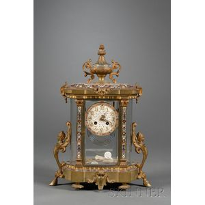 Tiffany and Co. Gilt Bronze and Champleve Mantel Clock