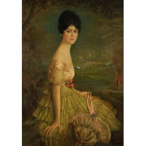 Continental School, 20th Century  Portrait of an Elegant Young Woman