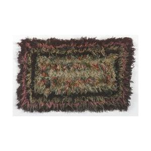 Wool Yarn Stitched Geometric Shag Rug