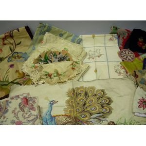 Group of Printed, Woven, Crewelwork, and Embroidered Textiles and Accessories