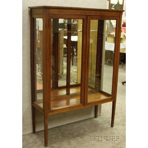 Inlaid Mahogany Two-Door China Cabinet with Mirrored Back Panel