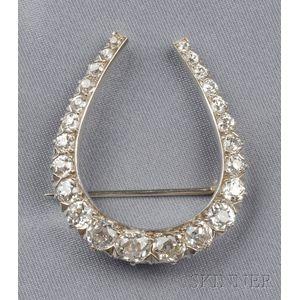 Platinum and Diamond Horseshoe Brooch