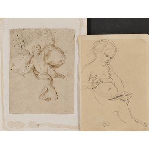 Lot of Three Continental School Drawings: Italian School, 18th Century, Putto in Flight; Continental School, 19th/20th Century, Seat...