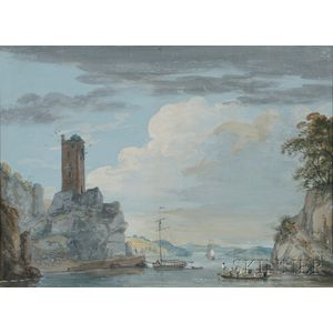 Attributed to Paul Sandby (British, 1725-1809)      River Landscape with Ferry and Ruined Tower
