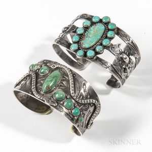 Two Navajo Silver and Turquoise Bracelets