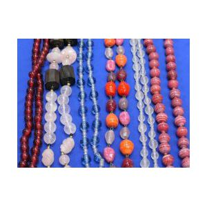 Six Strands of Hardstone and Glass Beads.