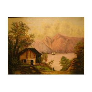 Framed Oil View of a Lakeside Cottage.