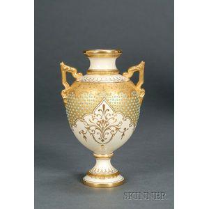 Jeweled Coalport Porcelain Two-handled Vase