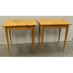 Pair of Stained Pine Side Tables with Tapering Legs