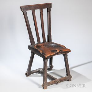 Carved and Joined Yellow Pine and Oak Chair