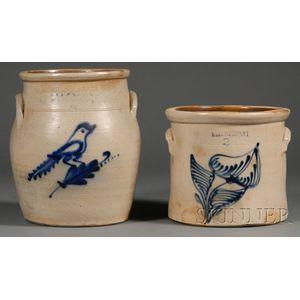Cobalt-decorated Stoneware Jar and Crock