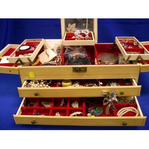 Jewelry Box with Costume Jewelry and Accessories.