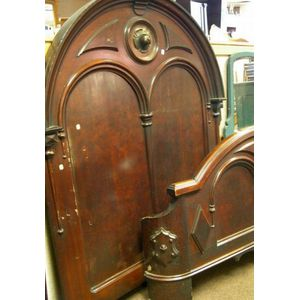 Victorian Gothic Reform Carved Walnut Bed