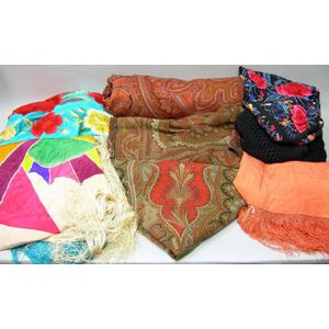 Two Embroidered Silk and Two Other Silk Piano Shawls and Three Wool Paisley Shawls