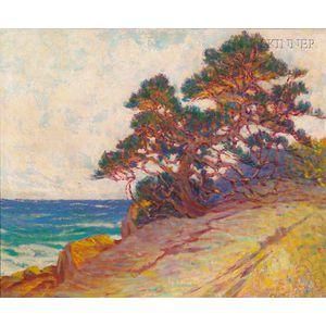 William Baxter Closson (American, 1848-1926)      Windblown Pine/A California Coastal View