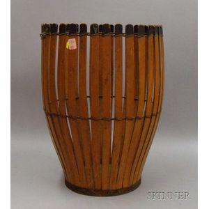 Painted Wood Slat-sided Basket