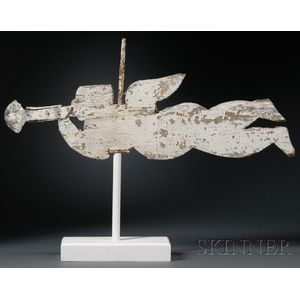 White-painted Wood and Zinc Angel Gabriel Weather Vane