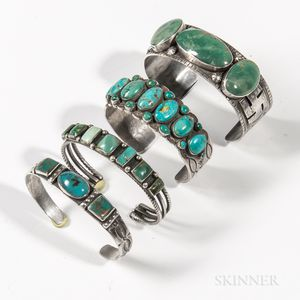Four Navajo Silver and Turquoise Bracelets