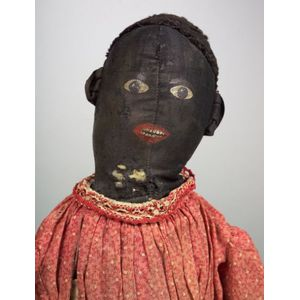 Primitive Black Cloth Doll with Painted Features