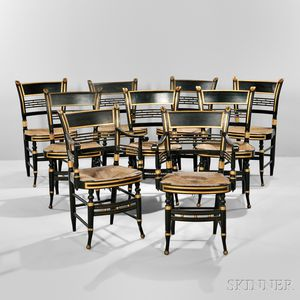 Set of Nine Paint-decorated Fancy Chairs
