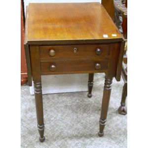 Late Federal Cherry Drop-leaf Two-Drawer Worktable.
