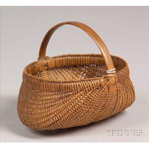 Small Woven Splint Ribbed Basket