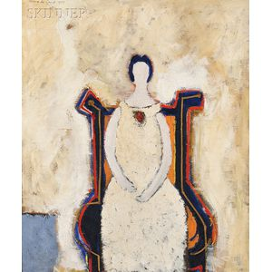 """Nanno de Groot (Dutch, 1913-1963)      """"Girl in Chair"""" No. 14"""