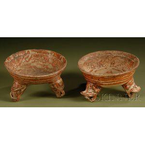 Two Polychrome Pottery Tripod Bowls
