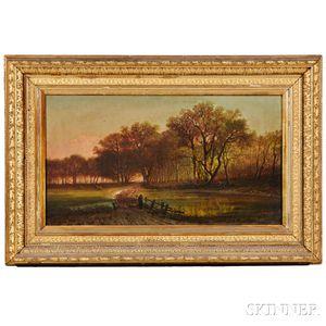 Albert Borris (American, 19th Century)      Shepherd and Flock on a Road at Dusk