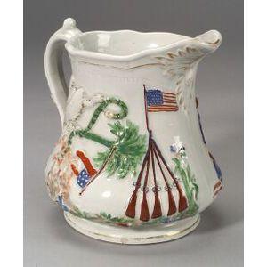 Civil War Commemorative Polychrome Porcelain Pitcher