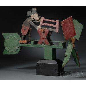 Two Painted Wood Character Whirligigs