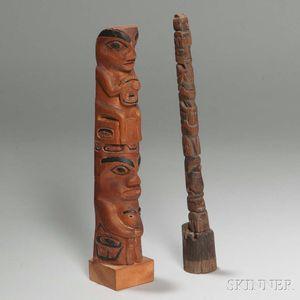 Two Northwest Coast Carved Wood Model Totem Poles
