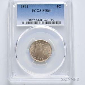 1891 Liberty Head Nickel, PCGS MS64.     Estimate $300-500