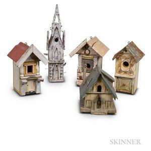 Five Painted Pine, Slate, and Sheet Metal Birdhouses