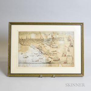 Framed Paul Revere Reproduction Engraving of the British Landing in Boston