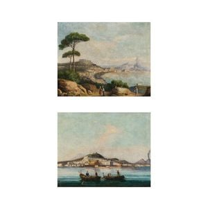 Italian School, 19th Century      Two Views of Naples