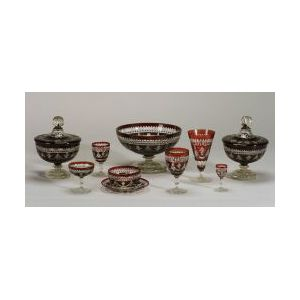 Bohemian Ruby Flashed Cut to Clear Glassware Service