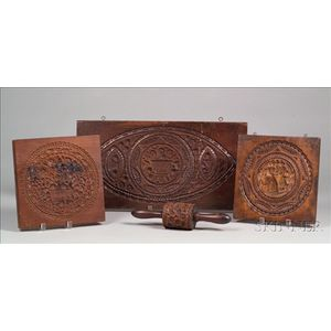 Three Carved Mahogany Cake Boards and a Carved Rolling Pin