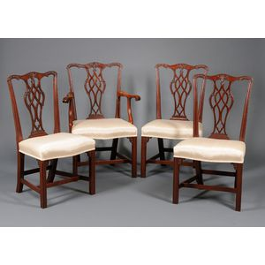 Set of Eight Nathan Margolis Shop Chippendale-style Upholstered Carved Mahogany   Dining Chairs