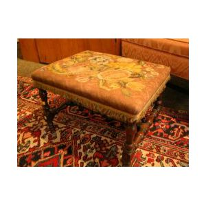 Irving & Casson/A. H. Davenport William and Mary Style Silk Floral Embroidery Upholstered Walnut Stool.
