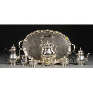 Six-piece Tiffany & Co. Sterling Tea and Coffee Service with Silver Plate Tray