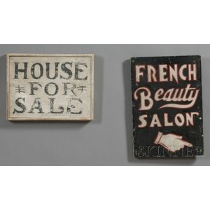 Two Painted Wood Advertising Signs