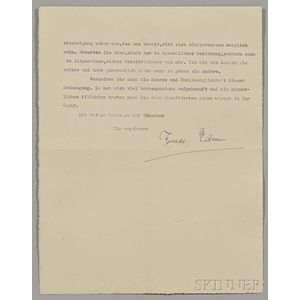 Mann, Thomas (1875-1955) Typed Letter Signed, 28 April 1937.