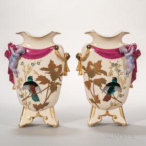 Pair of Porcelain Figural Vases