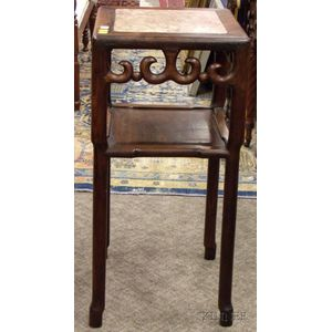 Chinese Export Marble-inset Carved Hardwood Stand.