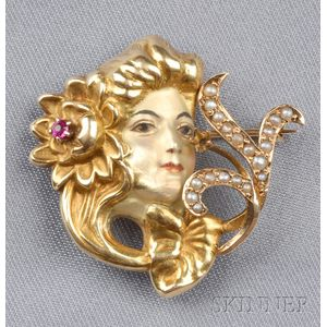 Art Nouveau 14kt Gold and Enamel Watch Pin