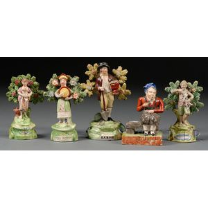 Five Staffordshire Pottery Earthenware Figures