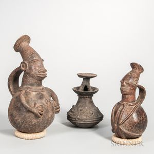 Akan-style Ghana Pottery Vessel and Two Mengbetu Figural Pottery Vessels
