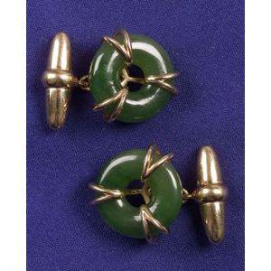 Gentleman's 18kt Gold and Nephrite Jade Cufflinks, Asprey